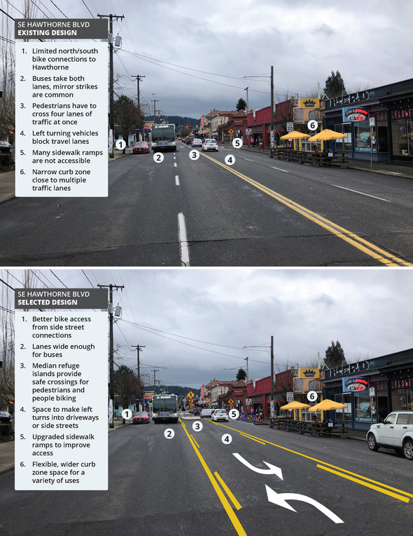 Two images showing Hawthorne as it currently exists and after the changes are made
