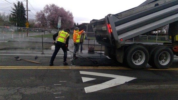 Crews installed new speed bumps on SE Duke, in front of Woodmere Elementary