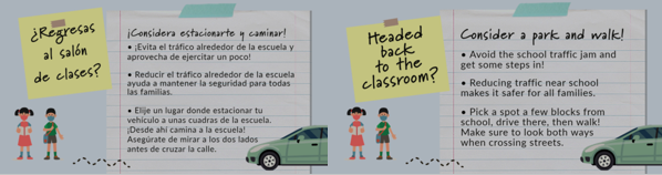 Safe Routes to School has created graphics in English and Spanish
