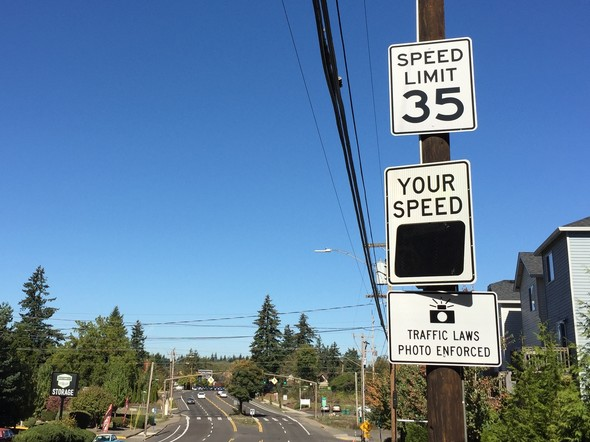 Speed reader board for safety cameras on northbound 122nd Avenue