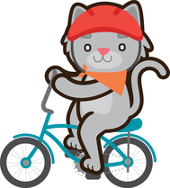 Kitty cat on a bike with a red helmet and orange bandana