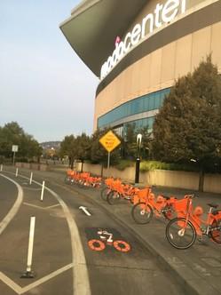 "BIKETOWN bike parking next to the Moda Center and the ""Dame Lane"""