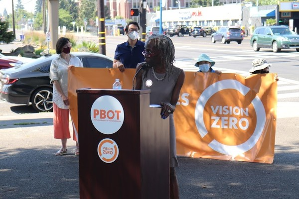 Commissioner Jo Ann Hardesty speaks about the historic investment in 82nd Avenue. Photo by PBOT.