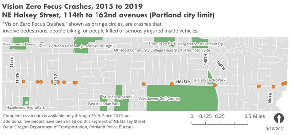 NE Halsey Street from 114th to 162nd avenues - crash map 2015-2019