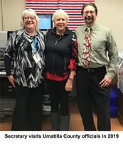 Secretary with Umatilla county officials in 2019