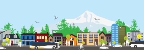 Illustration of Portland-area scene