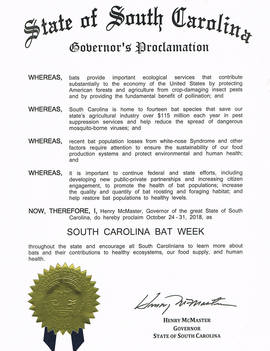 Governor's Bat Week Proclamation
