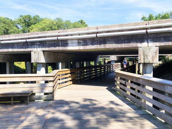 Pathway underpass for safely crossing William Hilton Parkway