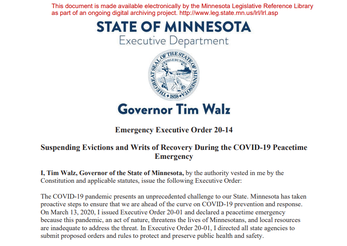 Walz suspends evictions