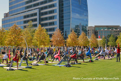Klyde Warren Park Yoga (Photo courtesy of Klyde Warren Park)