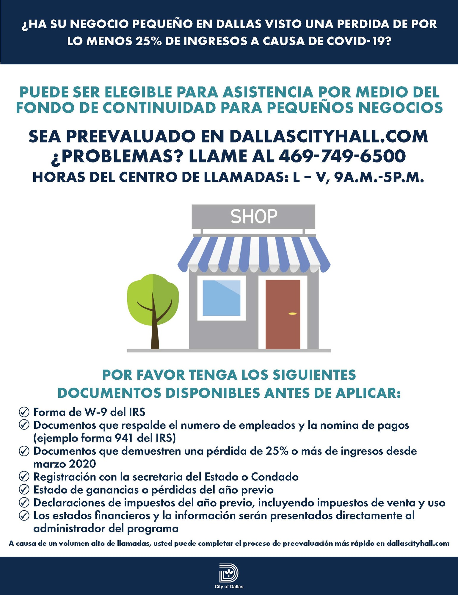 Small Business Continuity Fund - Checklist_Spanish