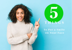 Woman pointing at number 5