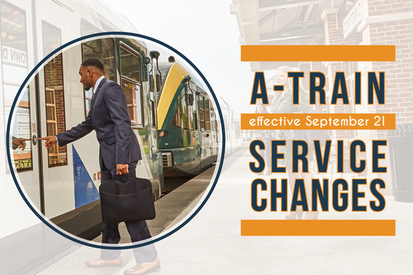 Man boarding A-train. Text reads: A-train service changes September 21, 2020