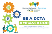 "Gears with text ""Be a DCTA Ambassador"""