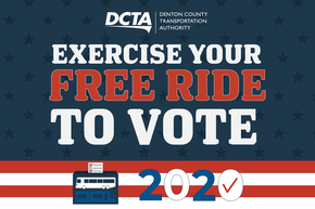 """Red, white and blue graphic with text """"Exercise your free ride to vote"""""""