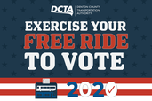 "Red, white and blue graphic with text ""Exercise your free ride to vote"""