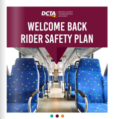 """A-train aisle. Text reads """"welcome back riders safety plan"""""""