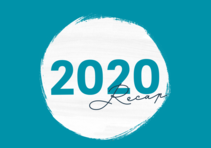 "Blue background with text in middle circle that reads ""2020 Recap"""