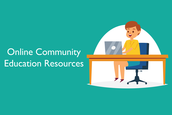 """Blue graphic with child sitting at desk. Text reads """"online education community resources"""""""
