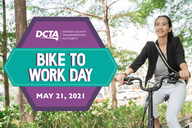 Business woman on bike. Text reads Bike to Work Day May 21, 2021