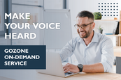 """Man on a computer. Text reads """"Make your voice heard. GoZone on-demand service"""""""