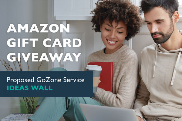 """Couple on a computer. Text reads """"Amazon Gift card Giveaway. Proposed GoZone service ideas wall"""""""