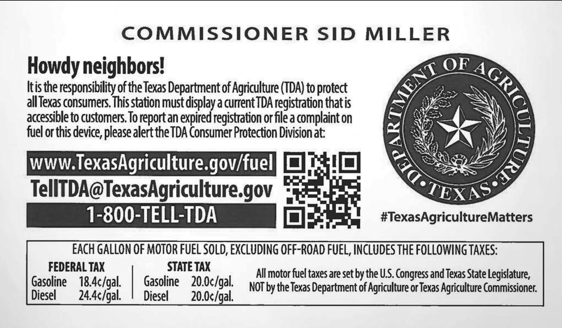 TDA consumer information sticker