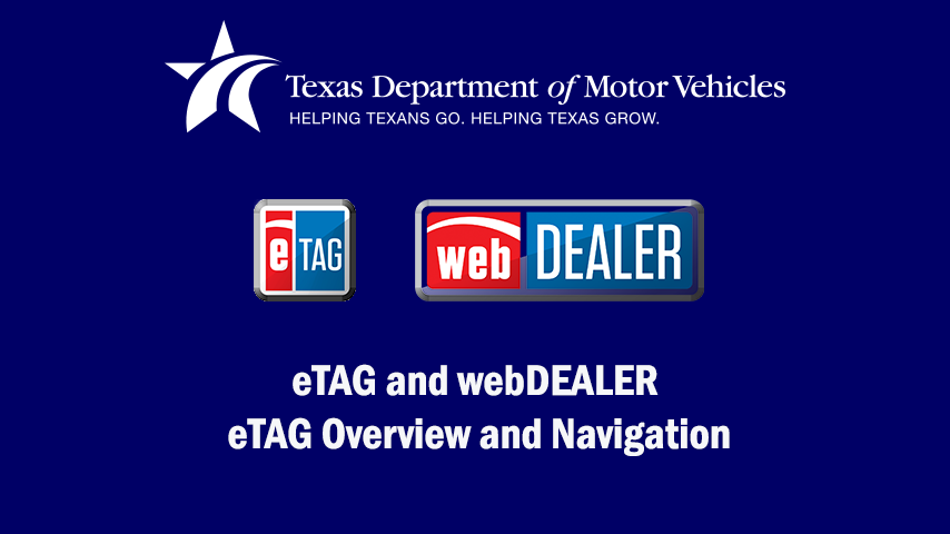 eTAG and webDEALER Video - Overview and Navigation
