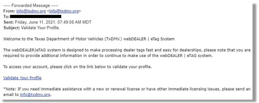 Fraud example email