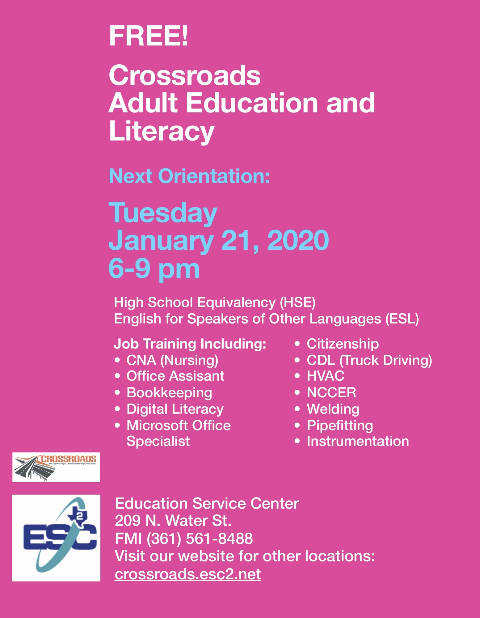 Adult Education and Literacy Orientation January 21