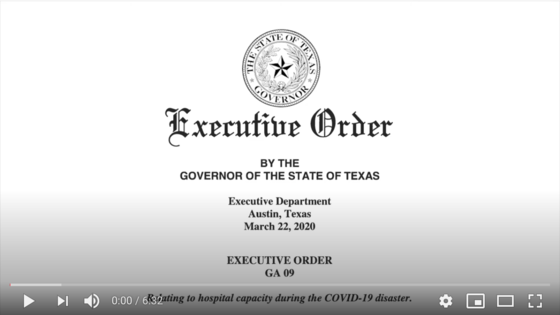 Governor Abbott's Executive Order #9 ASL