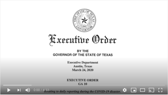 Governor Abbott's Executive Order #10