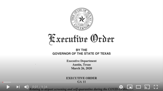 Governor Abbott's Executive Order #11