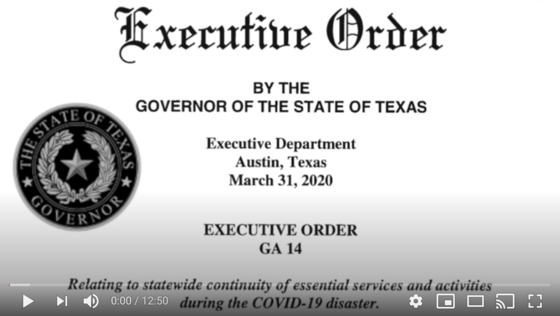 Governor Abbott's Executive Order #14