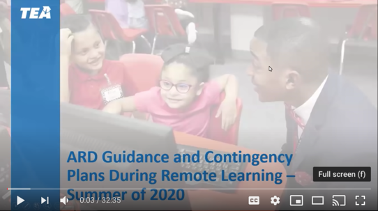 TEA ARD Guidance During Remote Learning Training Video