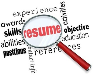 """Magnifying glass over the word """"resume"""""""