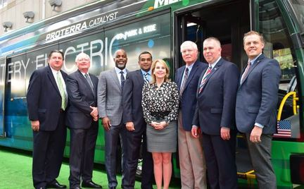 group shot electric bus