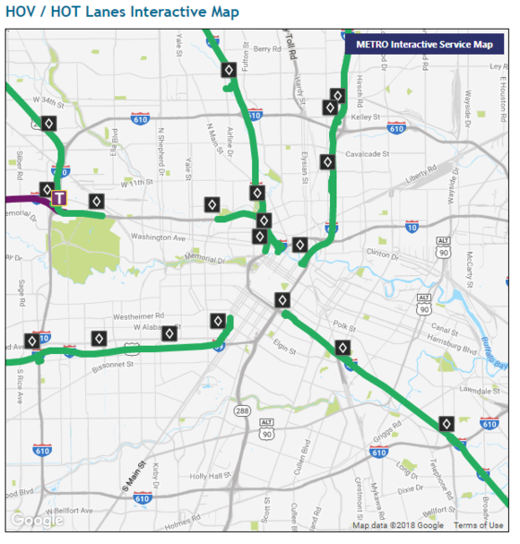 HOV / HOT Lane Map