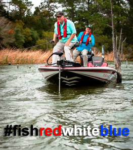 Anglers in a boat #fishredwhiteblue