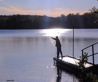 Fisherman standing on dock throwing a casting net