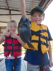 Boy and Girl with BIG sunfish