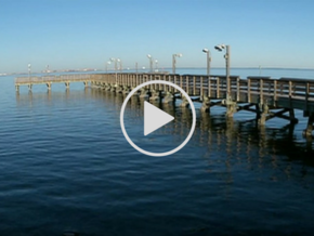 Pier on Gulf, link to Lavaca Bay cleanup video