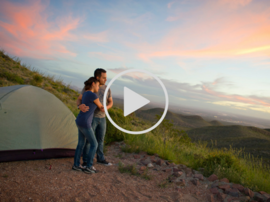 Couple camping at Franklin Mountains - video link