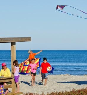 family flying a kite on a beach