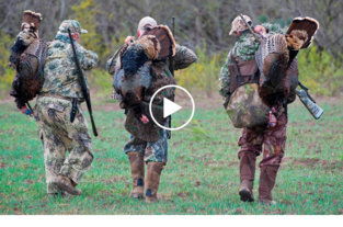 3 hunters walking with turkeys on their backs, video link