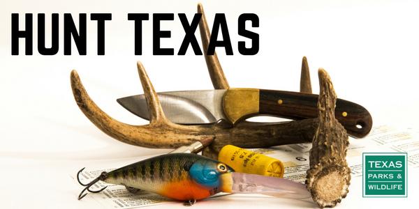 Illustration of lure, deer horn, knife and license