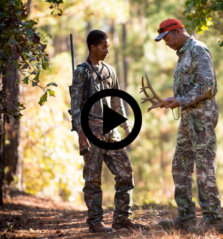 man and son with deer antlers, video link