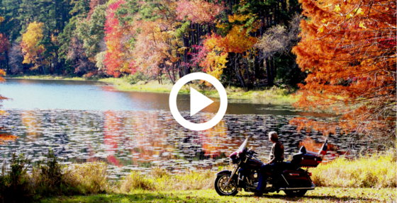 Biker at Daingerfield SP enjoys the view of fall foliage, video link