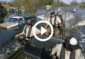 3 Texas Game Wardens in air boat during Harvey rescues