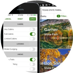 state parks app on phone showing filtered results